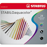 Matite colorate Aquacolor Stabilo - Scatola in metallo - 2,8 mm - da 6 anni - ( 24 pz.)